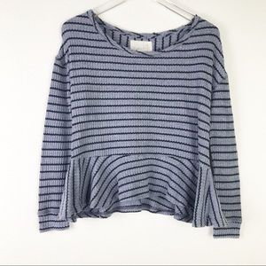 Free People We the Free Auntie Em Striped Peplum Long Sleeve Top Size XS